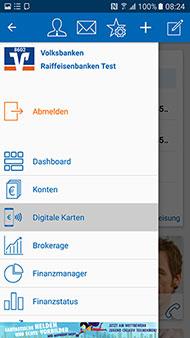 "Menüpunkt ""Digitale Karten"" in der VR-BankingApp"